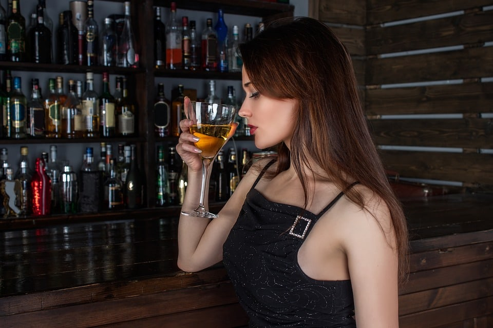 Girl with alcoholic drink