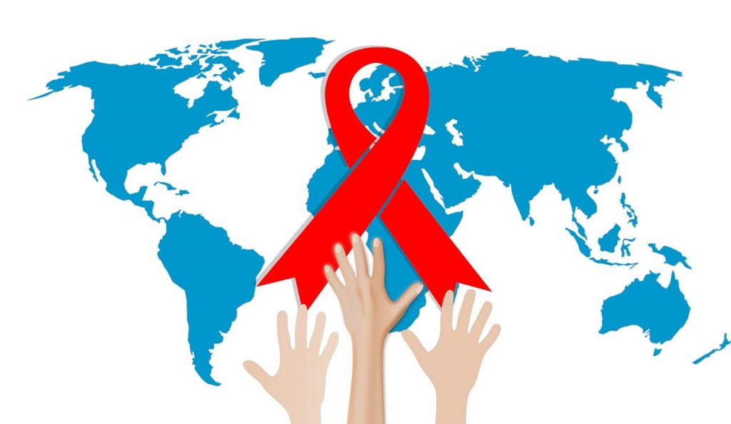 Hands reaching for a red ribbon with a background of a blue map.